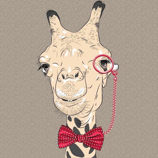 Closeup retrato de gracioso hipster jirafa Vector Premium