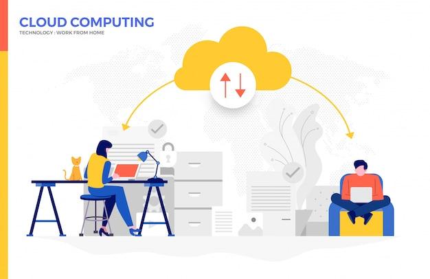Cloud computg para trabajar desde casa 04 Vector Premium