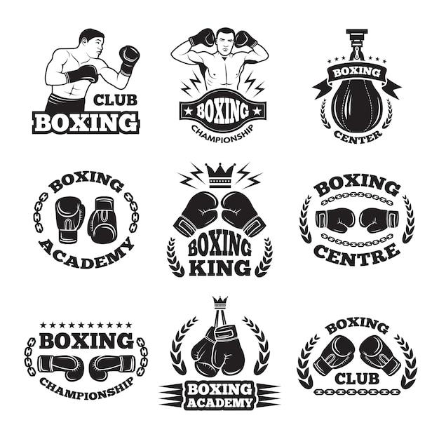 Club de boxeo, o mma luchando las etiquetas. monocromo Vector Premium