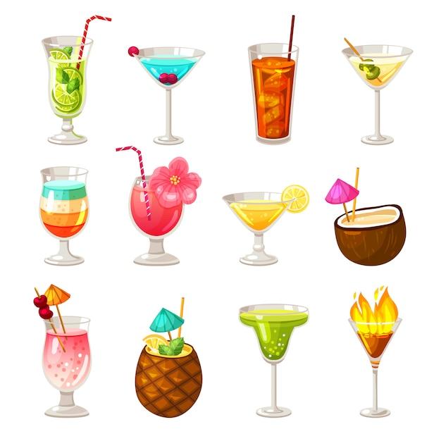 Club cocktails icons set vector gratuito