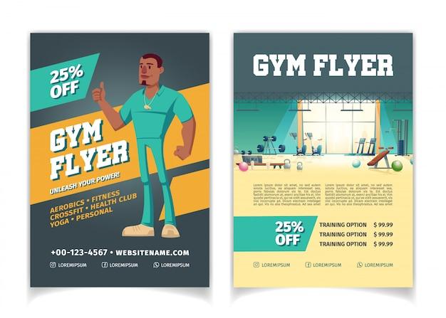 Club deportivo, gimnasio, precios de dibujos animados de gimnasio de musculación, descuentos en la plantilla de páginas de volantes publicitarios. vector gratuito