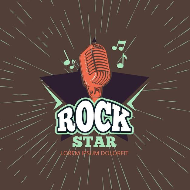 Club de música de karaoke retro, logotipo de vector de estudio de grabación de audio con micrófono y estrella en ilustración de fondo vintage sunburst Vector Premium