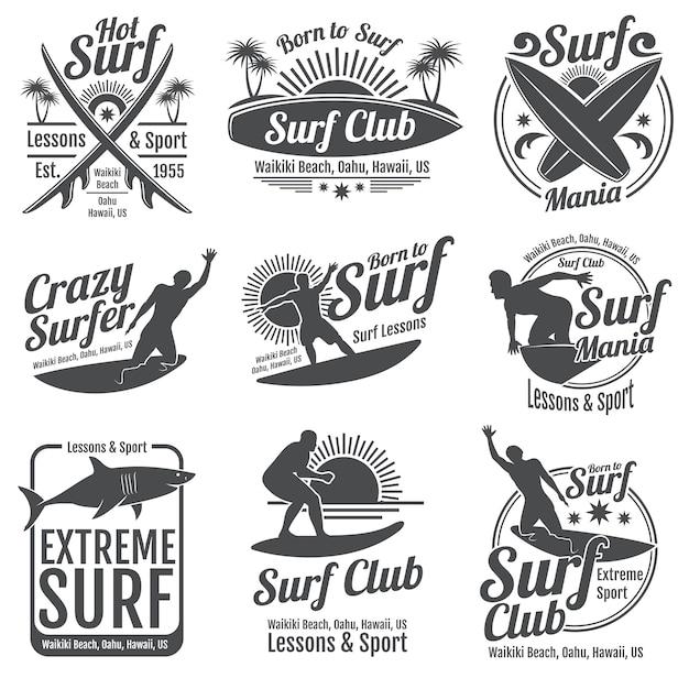 Club de surf de emblemas vintage. tabla de surf en signos de onda Vector Premium