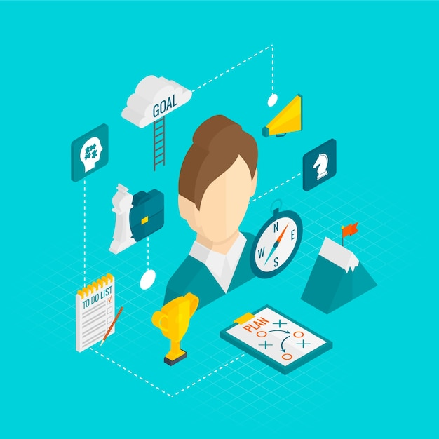 Coaching business isometric icon vector gratuito