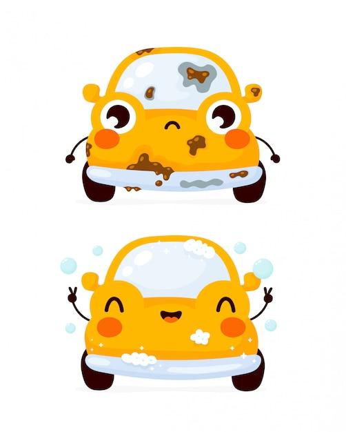 Coche de automóvil amarillo limpio sucio sucio y feliz lindo lindo. icono de ilustración de personaje de dibujos animados plana. aislado en blanco. lavado de automóviles Vector Premium