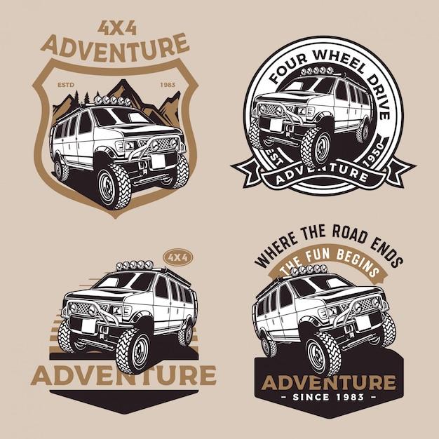 Coche de aventura de cuatro ruedas Vector Premium
