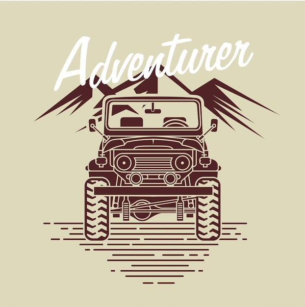Coche de aventurero frente a la montaña Vector Premium