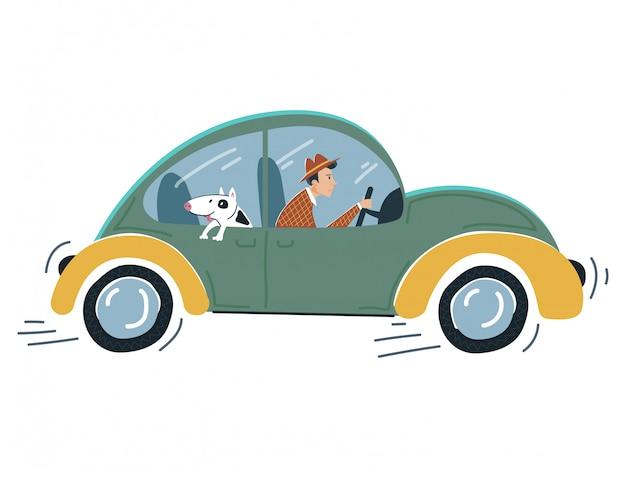 Coche de control de personaje masculino, vehículo de unidad de personalidad sombría con perro divertido en blanco, ilustración. la gente se apura. Vector Premium
