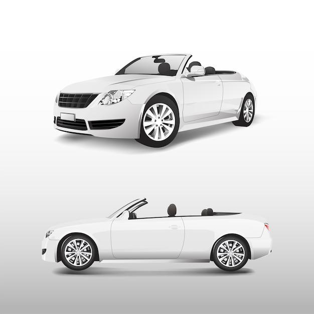 Coche convertible blanco aislado en vector blanco vector gratuito