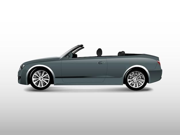 Coche convertible gris aislado en vector blanco vector gratuito