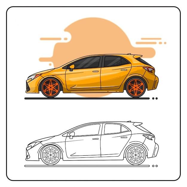 Coche deportivo amarillo Vector Premium