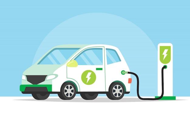 Coche eléctrico cargando su batería, ilustración del concepto para el medio ambiente verde Vector Premium