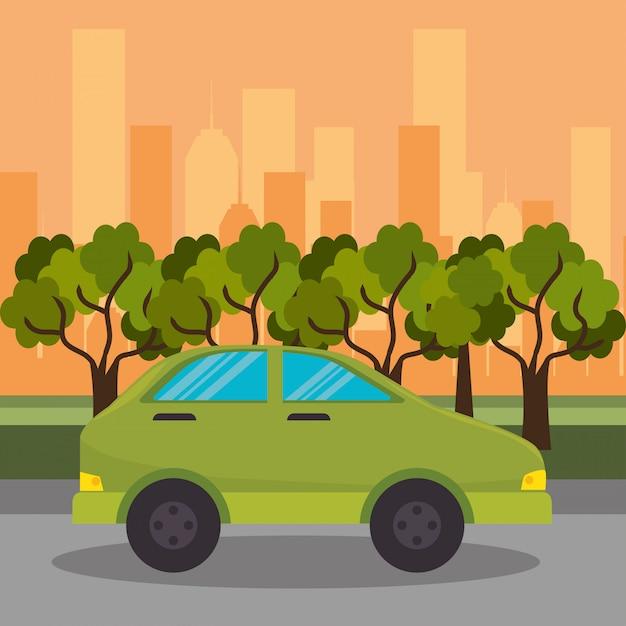 Coche verde calle calle ciudad vector gratuito