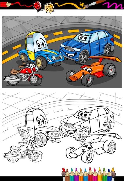 Coches de dibujos animados para colorear libro | Descargar Vectores ...