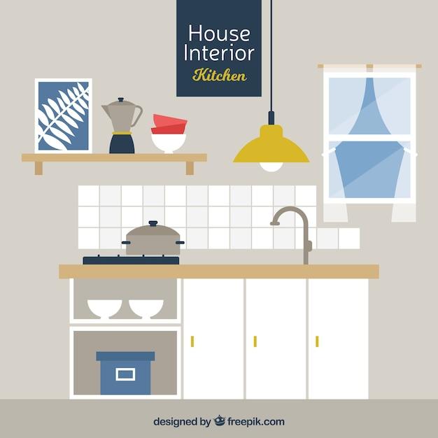 Cocina con muebles de madera en dise o plano descargar - Muebles de madera de diseno ...