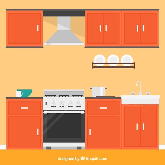 Cocina con muebles naranjas descargar vectores gratis for Muebles de cocina gratis