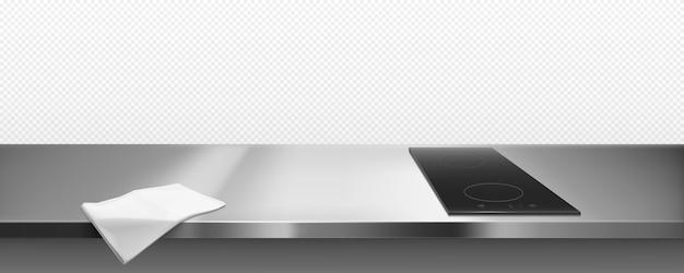 Cocina eléctrica en la encimera de la cocina vista superior, borde vector gratuito