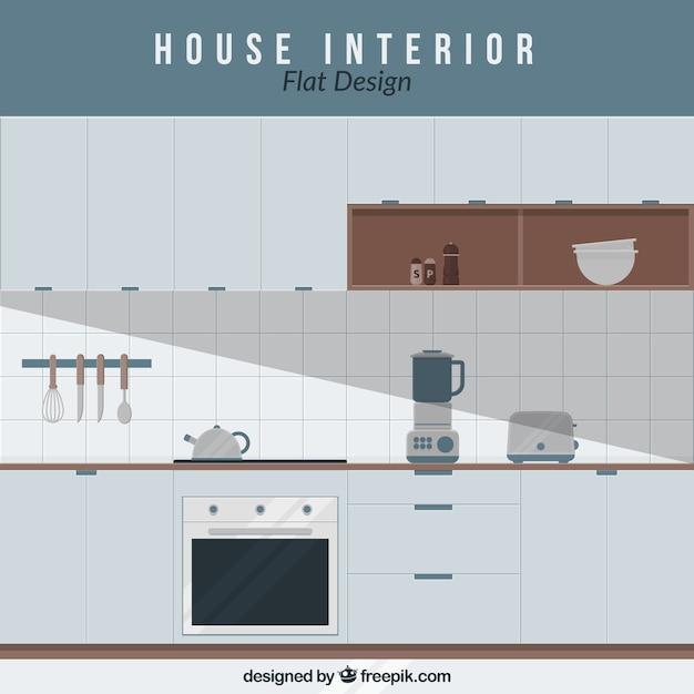 Cocina con electrodomésticos en diseño plano   Descargar Vectores gratis