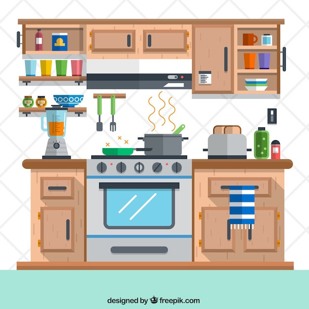 Cocina en estilo plano descargar vectores gratis for Planos de cocinas gratis