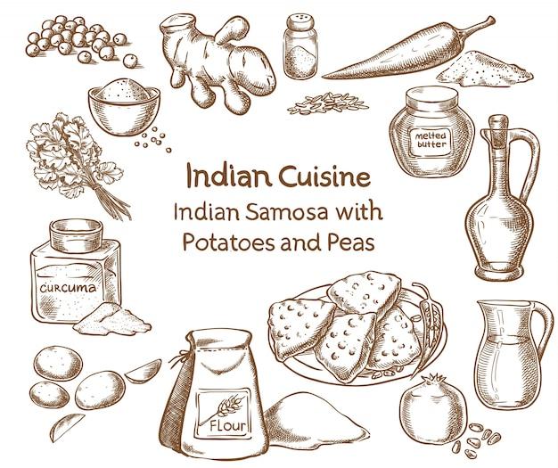 Cocina india samosa con papas y guisantes ingredientes | Descargar ...