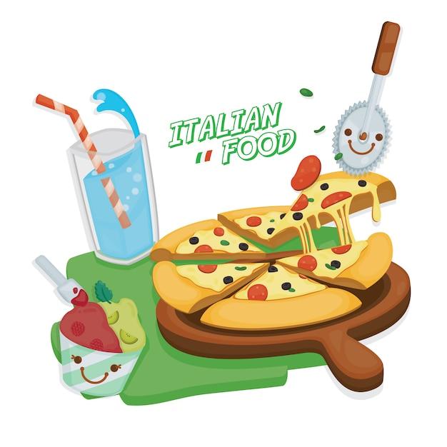 Cocina italiana pizza margarita servida con refresco italiano y helado de helado. Vector Premium