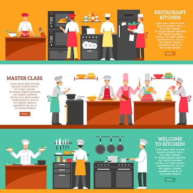 Cocina master class banners horizontales vector gratuito