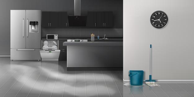 Cocina moderna limpieza fondo realista vector gratuito
