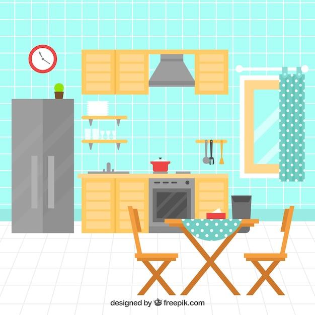 Cocina plana con electrodom sticos y muebles de madera for Diseno de muebles de madera gratis