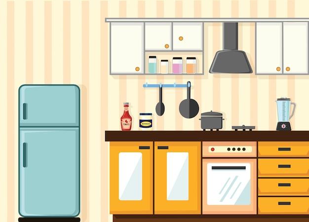 Cocina retro interior con muebles y equipamiento | Descargar ...