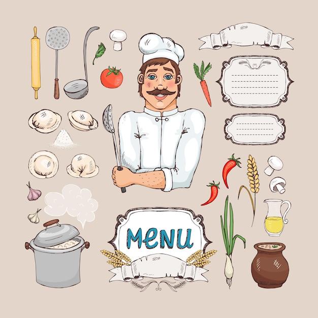 Cocina rusa. chef cocinero, comida, utensilios de cocina y marco para el menú vector gratuito