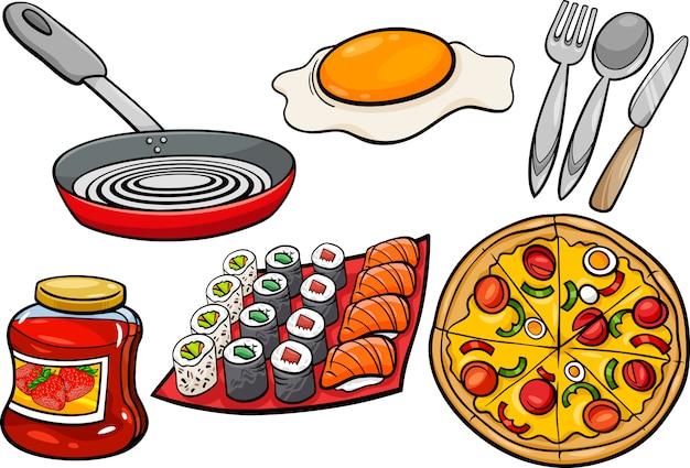 Cocina y objetos de alimentos conjunto de dibujos animados for Objetos de cocina