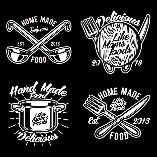 Cocinar cosas logo vector set ilustración Vector Premium