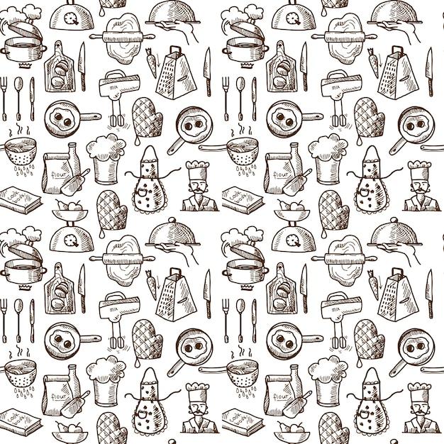 Cocinar los iconos de patrones sin fisuras vector gratuito