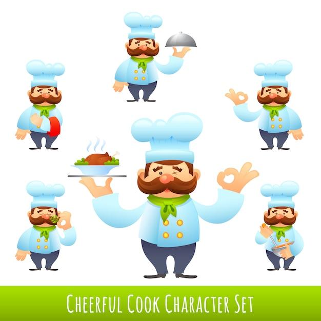 Cocinar personajes de dibujos animados vector gratuito