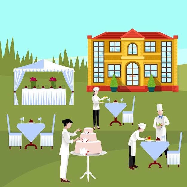 Cocinar personas de color composición vector gratuito
