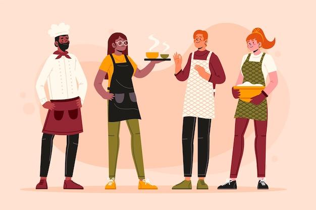 Cocinero chef colección vector gratuito