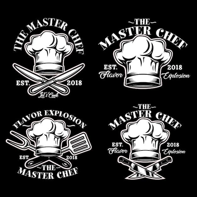 Cocinero chef sombrero logo vector set ilustración Vector Premium