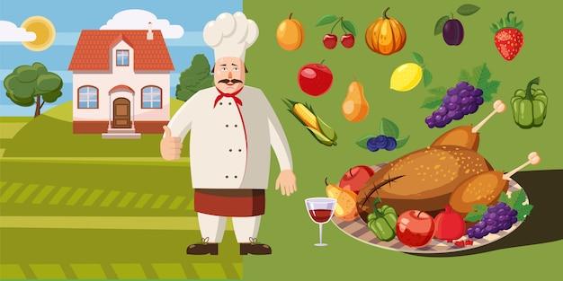 Cocinero horizontal del concepto del fondo de la comida. Vector Premium