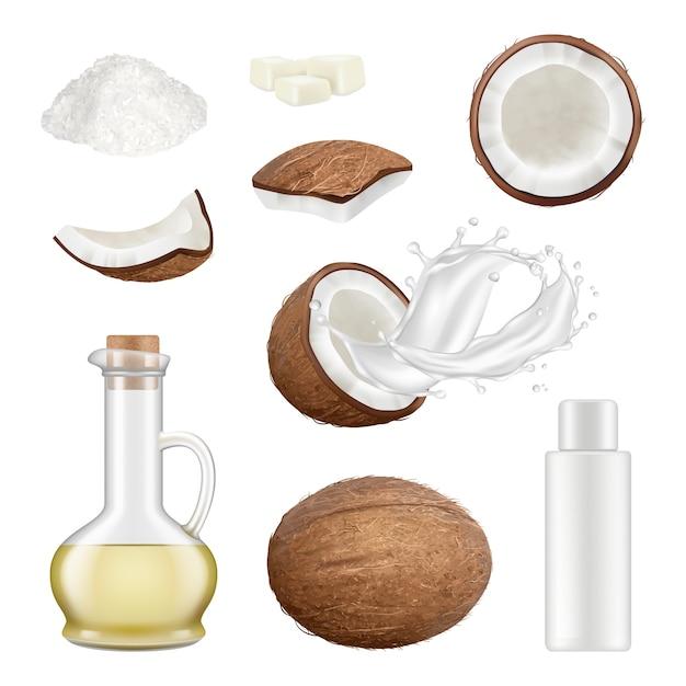 Coco realista. palmera exótica corte ilustraciones de vectores de bebidas de coco de comida tropical. bebida láctea, ingrediente de coco leche de coco de palma fresca y orgánica Vector Premium