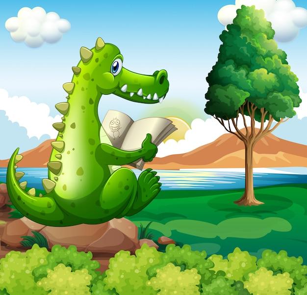 Un cocodrilo sentado sobre la roca mientras lee cerca del río vector gratuito