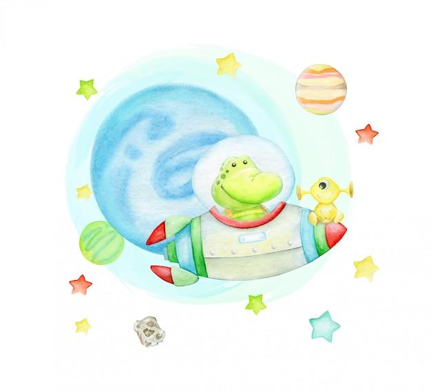 Cocodrilo volando en un cohete. en el espacio, rodeado de estrellas y planetas, con extraterrestres. Vector Premium
