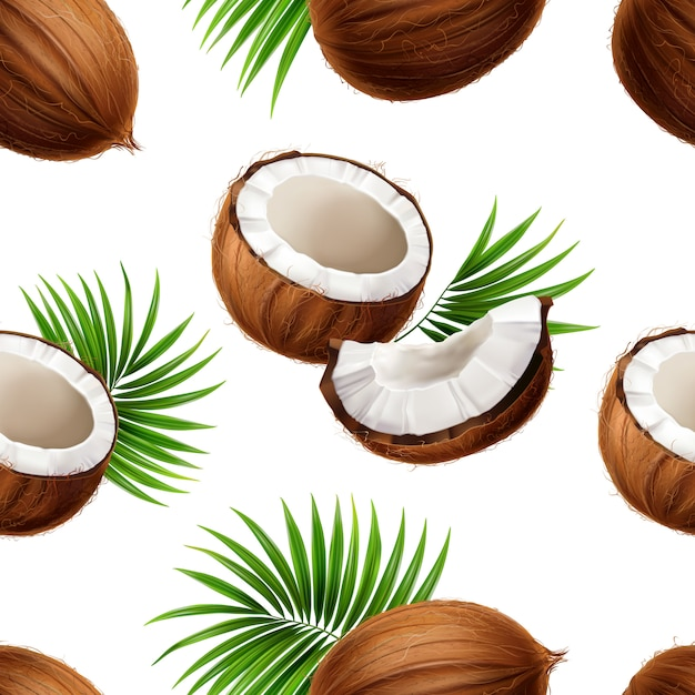 Cocos enteros y cortados con hojas de fronda de palma esparcidas sobre fondo blanco realista de patrones sin fisuras vector gratuito