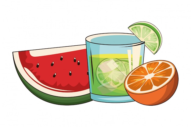 Cóctel con sandía y naranja. Vector Premium