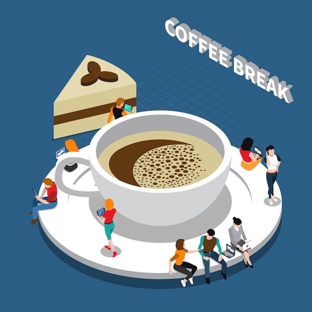 Coffee break composición isométrica vector gratuito