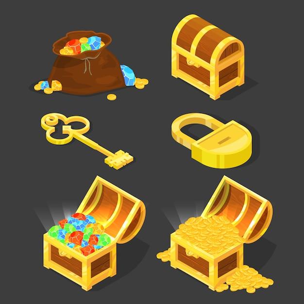 Cofre de madera antiguo con tesoros, llave vintage y candado. Vector Premium