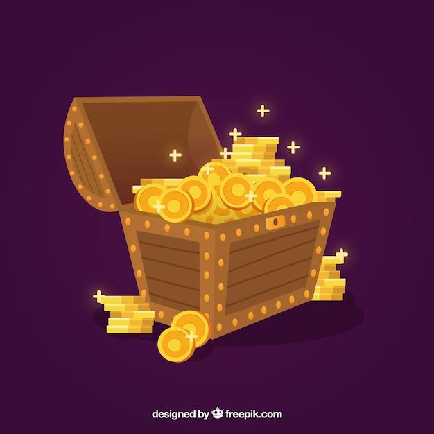 Cofre del tesoro con diseño plano vector gratuito