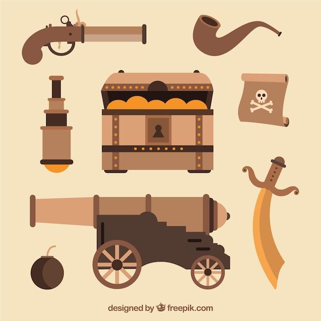 Cofre del tesoro con elementos de pirata en diseño plano vector gratuito