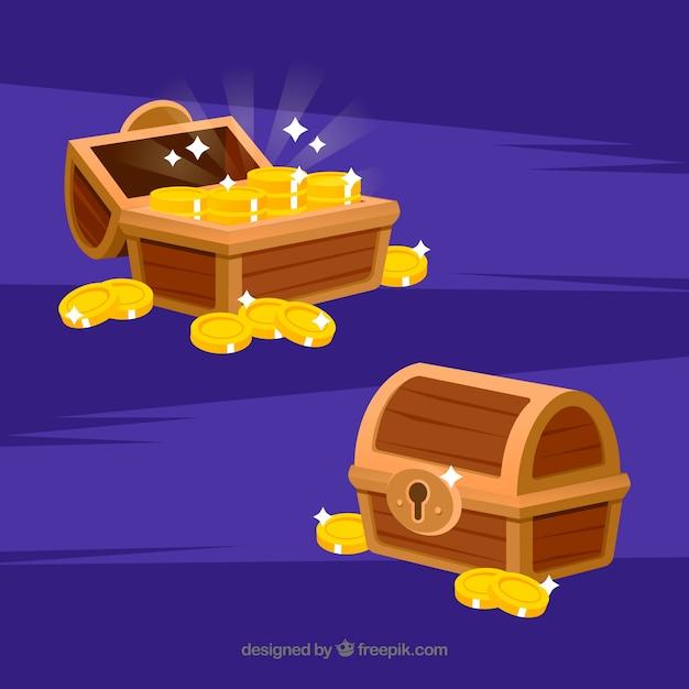 Cofre del tesoro de madera con diseño plano vector gratuito