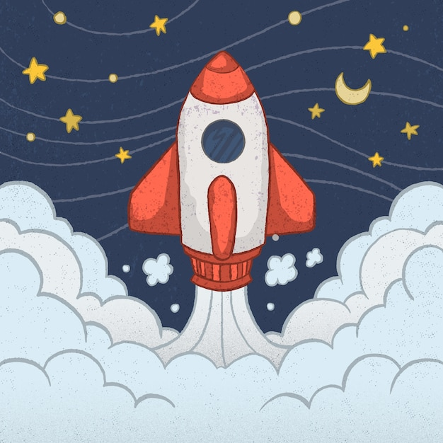 Cohete adorable con estilo de dibujo a mano vector gratuito