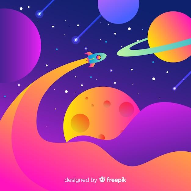 Cohete degradado en el espacio vector gratuito